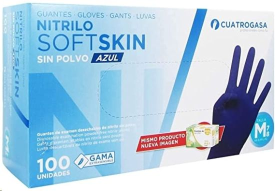 guantes nitrilo grande k-100 soft skin azul